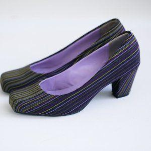 United Nude Striped Nylon Square Toe Heels